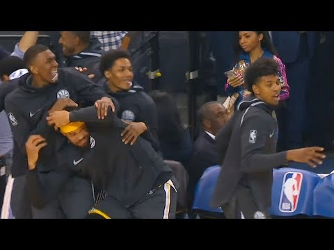 Klay Thompson's Dunk Makes Warriors Bench Go Crazy! Warriors vs Spurs