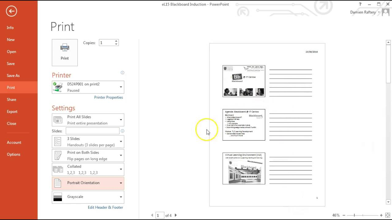 how to print powerpoint slides in handout form youtube
