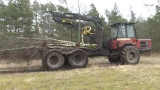 Kockums 84 35 forwarders with a brush cutter in the crane 2015