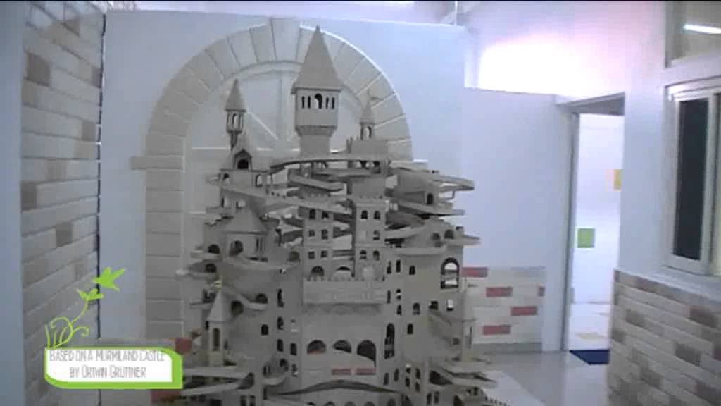 rolling ball sculpture rolling marble machine wooden castle art an ivy middle school project youtube