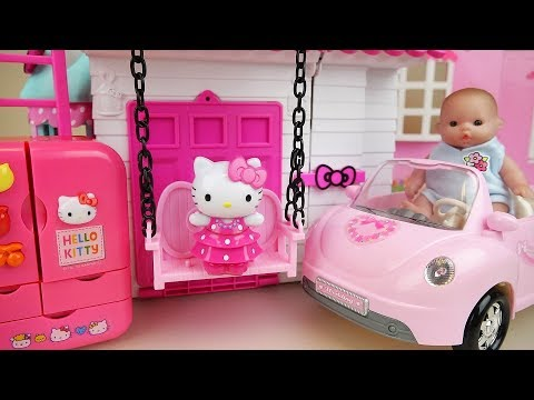 Baby doll and Hello kitty house and kitchen toys play