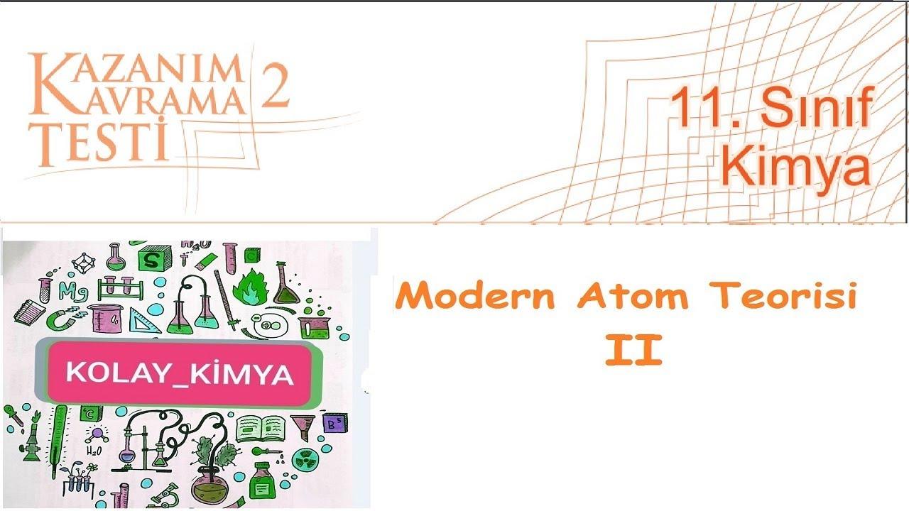 11  SINIF KİMYA Kazanım Kavrama 2 Modern Atom Teorisi
