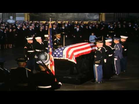 John Kennedy's casket is brought in Capitol Rotunda by Honor Guard as a part of f...HD Stock Footage