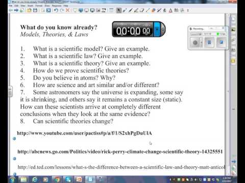 Theories, Laws and Models