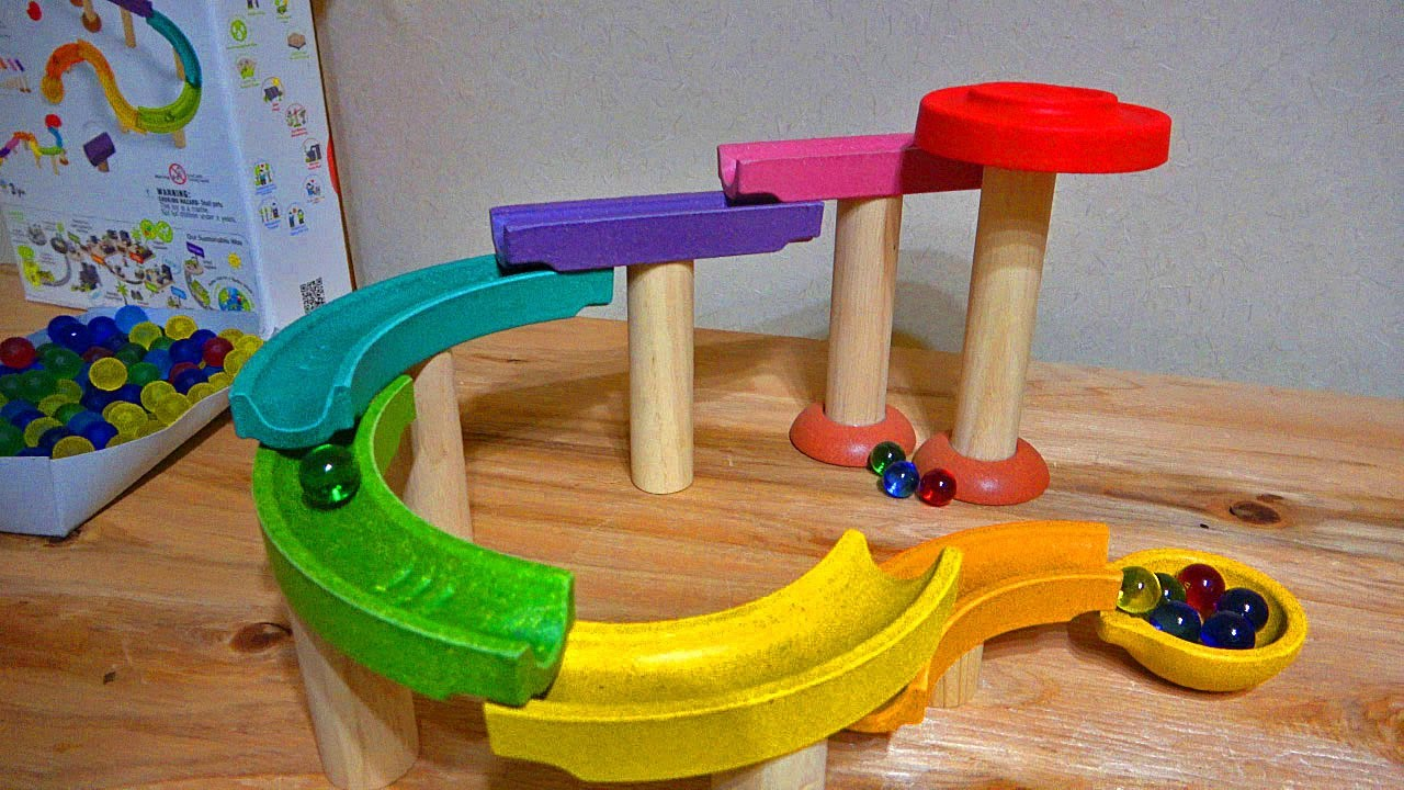 Marble Run ASMR ☆ Colorful wooden course and Chinese hammer ASMR