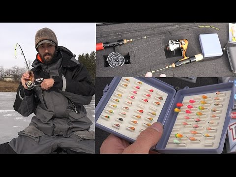 ICE FISHING GEAR & How to Ice Fish - Rods Storage Tackle Reels Lures Jigs Flasher Striker Suit Auger
