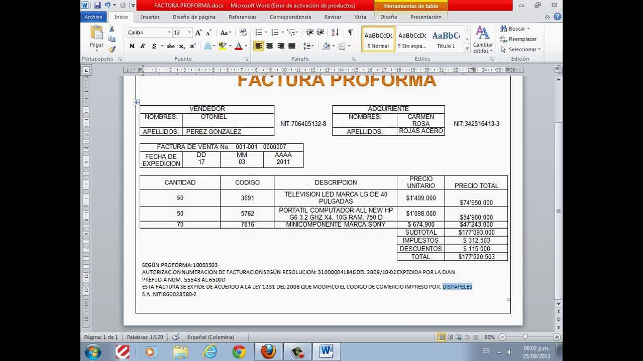 factura proforma youtube