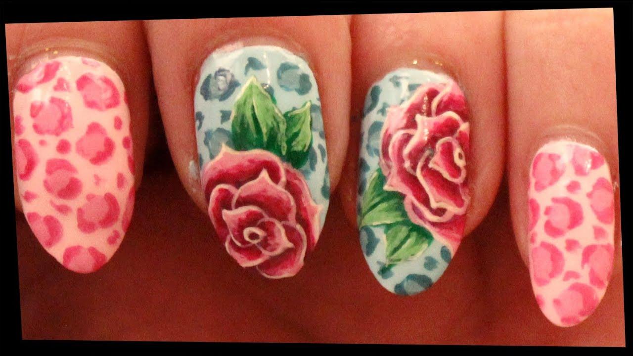 pastel leopard & roses nail art