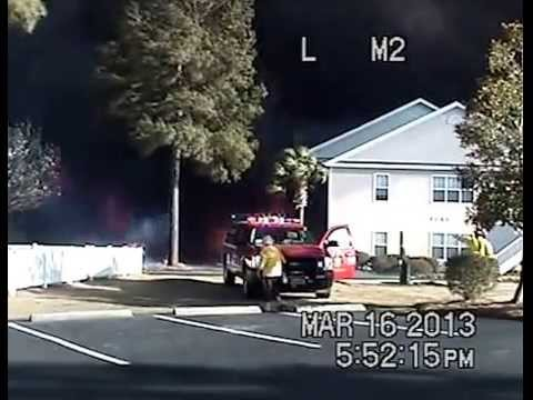 DASH CAM  Video of police big  Green fire shocking
