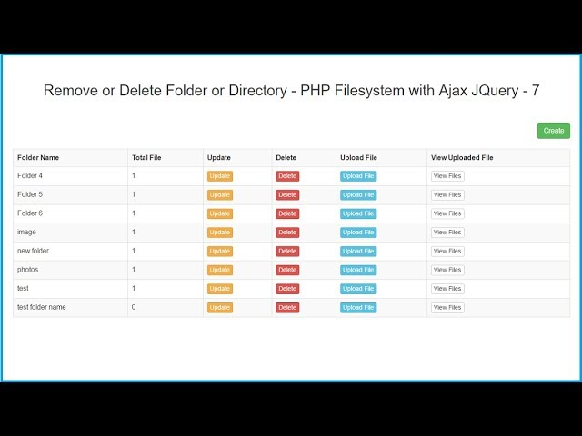 Remove or Delete Folder or Directory - PHP Filesystem with Ajax JQuery - 7