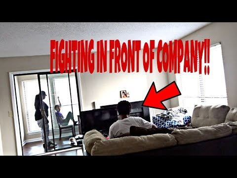 FIGHTING IN FRONT OF COMPANY PRANK!!!! (HILARIOUS)!!!