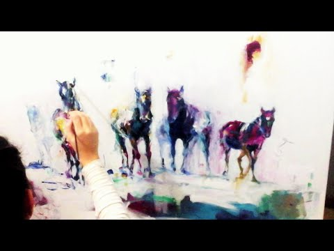 ABSTRACT HORSES  - Oil Speed Painting