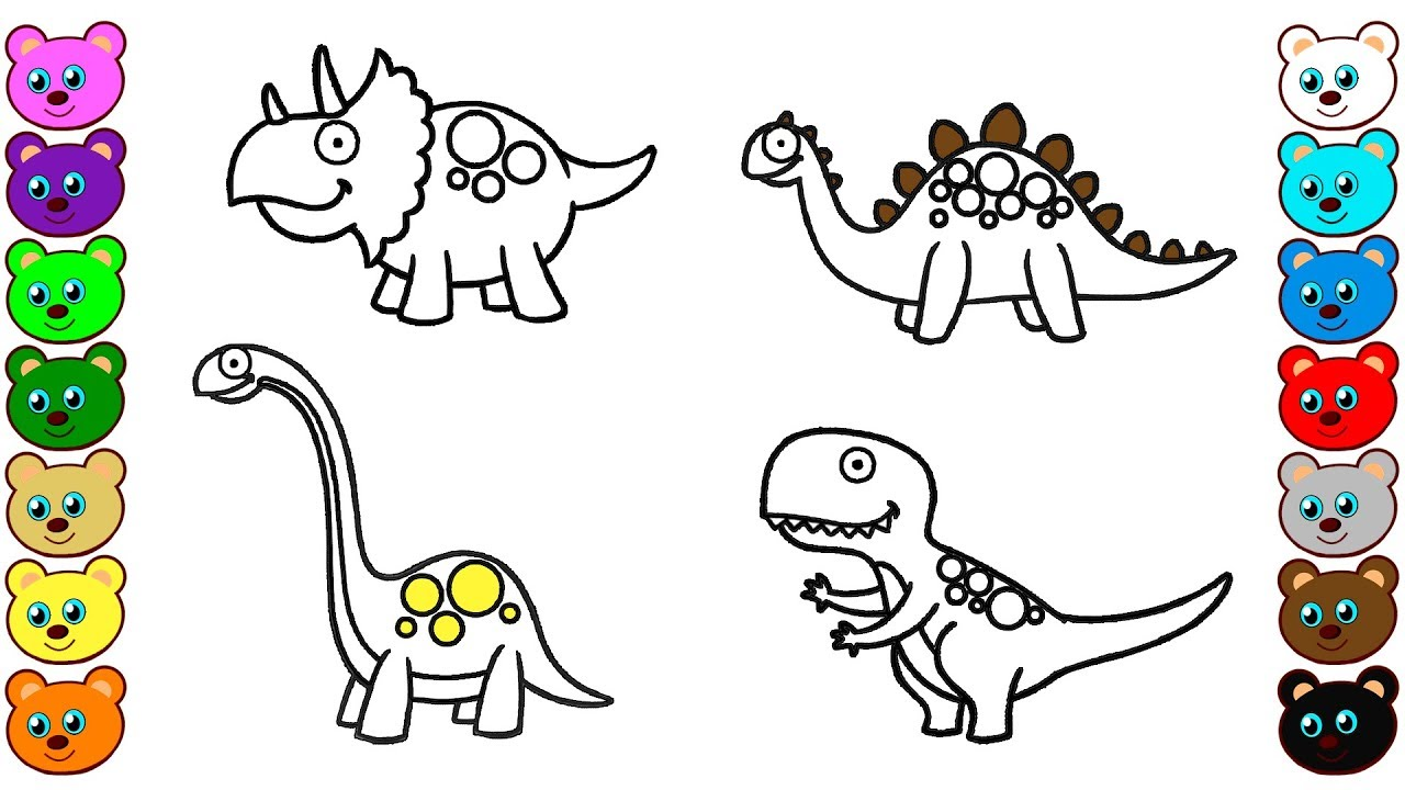 Dinosaurs for Kids - Colouring Pages for Toddlers - YouTube