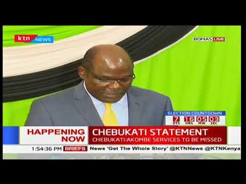 CHEBUKATI'S STATEMENT: IEBC chair full statement after Akombe's resignation