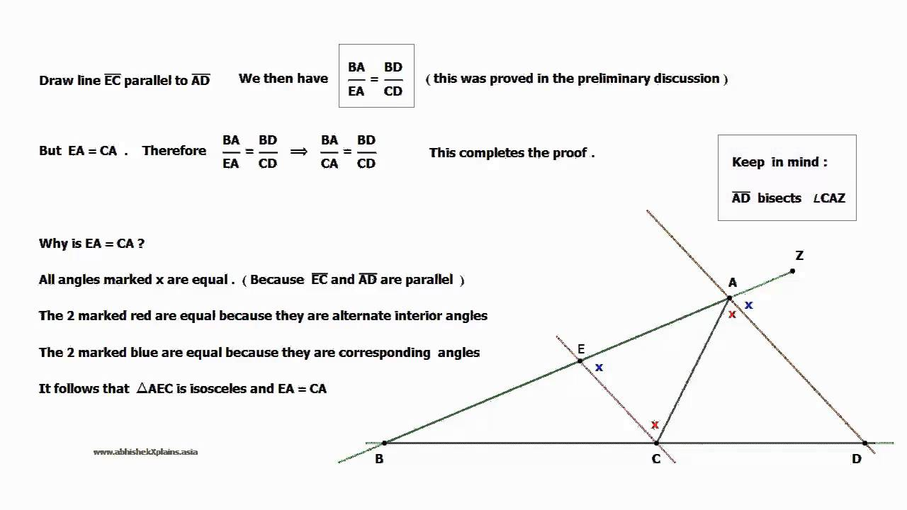 Exterior angle bisector theorem youtube for Exterior angle theorem