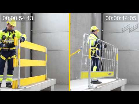 Edge protection system XP - Time comparison: protective grating vs. guard-rail boards [EN]