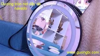 Gương tròn dây da treo tường makup đèn led navado-0961 430 111