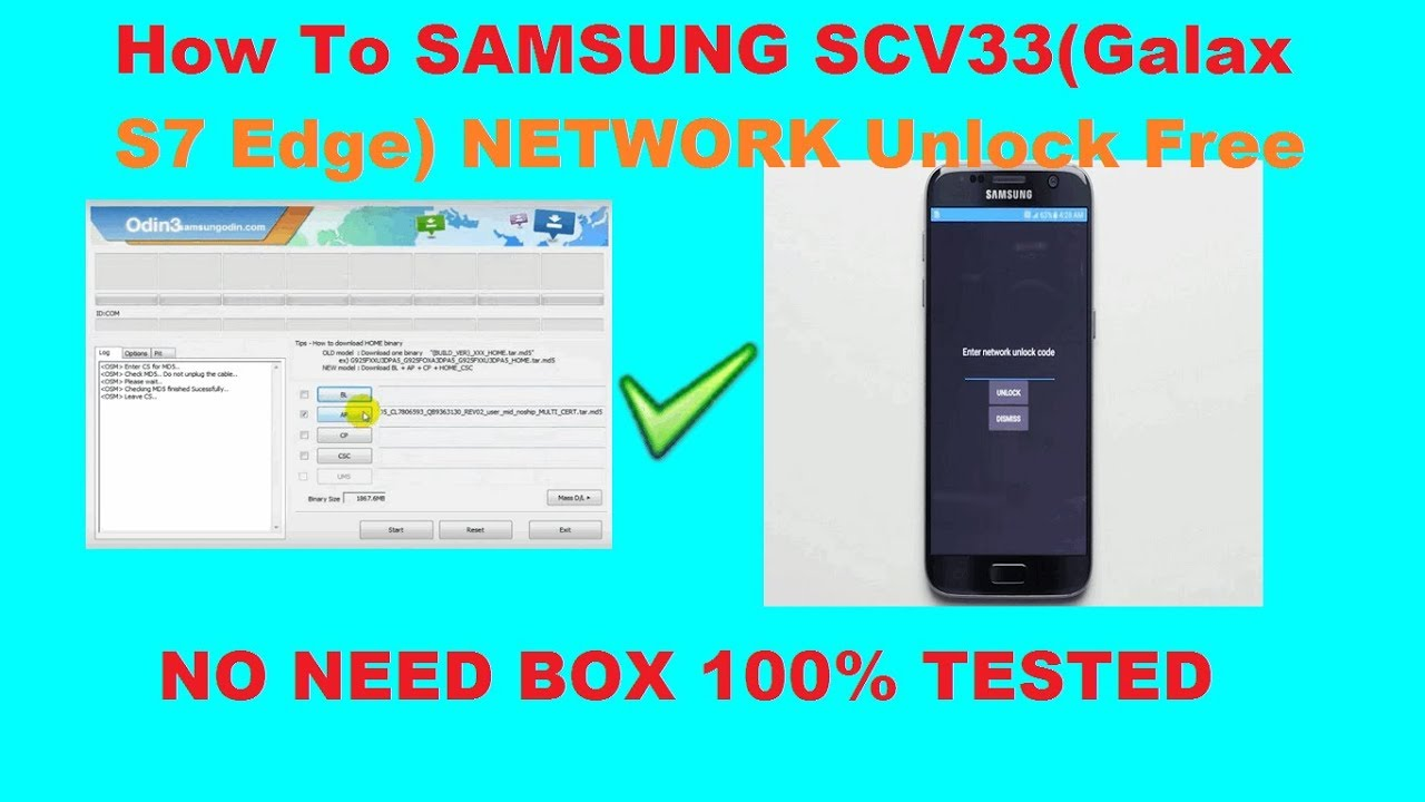 How To SAMSUNG SCV33(Galax S7 Edge) NETWORK Unlock Free No Need Box
