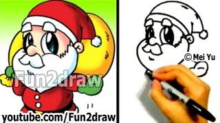 How to Draw Santa - Fun Things to Draw Art Lessons - Fun2draw