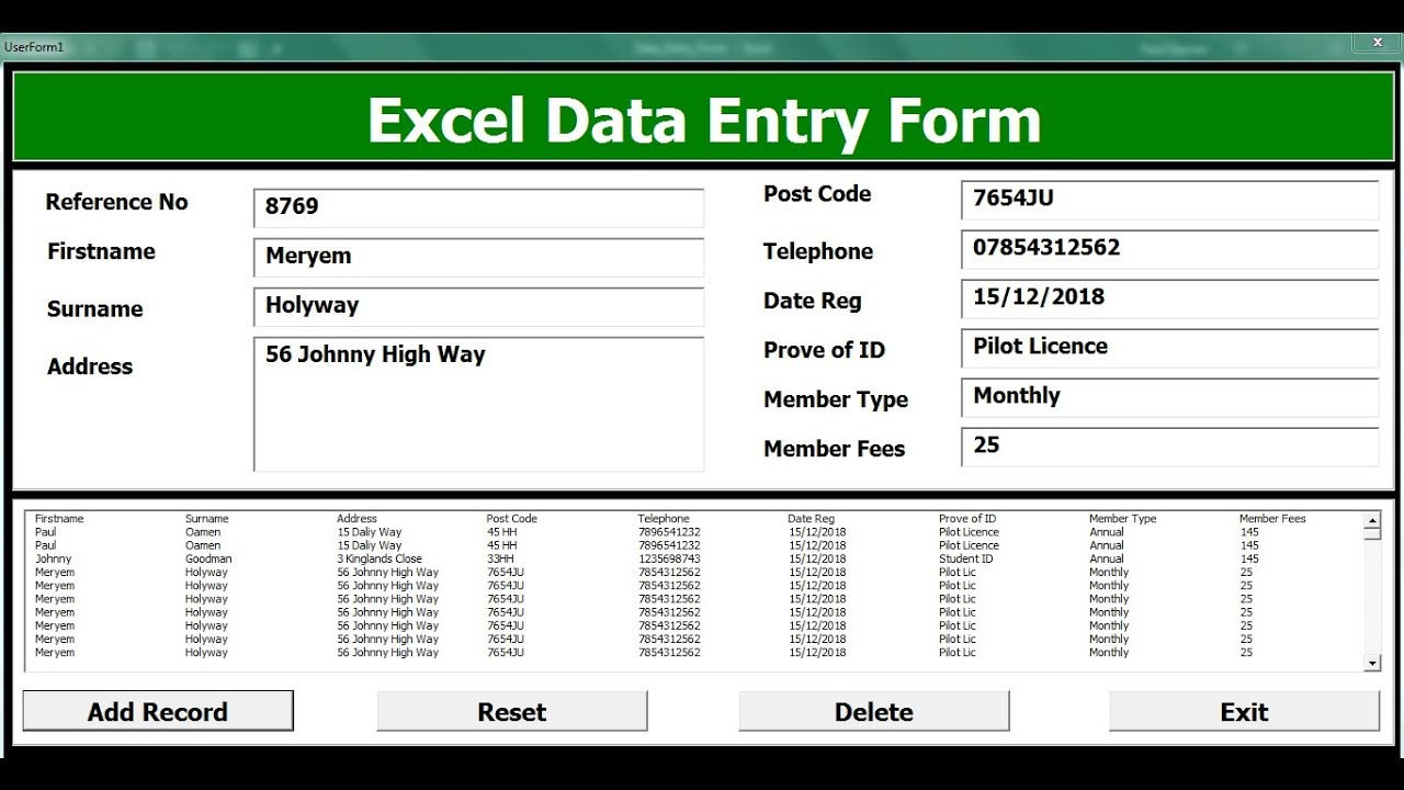 how to create an excel data entry form with a userform
