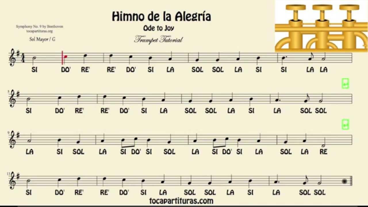 Himno De La Alegría Partitura Con Notas Tutorial De Trompeta Youtube