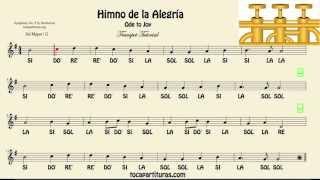 Himno de la Alegría Partitura con Notas Tutorial de Trompeta
