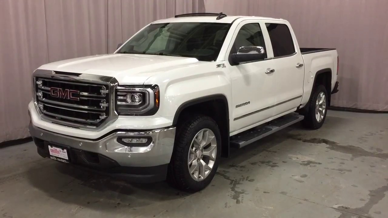 2017 gmc sierra 1500 slt 4wd crew cab running boards z71 suspension white oshawa on stock. Black Bedroom Furniture Sets. Home Design Ideas