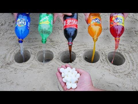 Experiment: Fanta, Sprite, Coca Cola vs Mentos in different Holes Underground. Super Reaction!