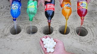 Experiment: Fanta, Sprite, Coca Cola vs Mentos in different Holes Underground. Super Reaction!