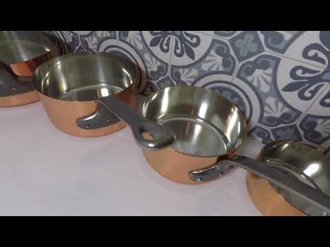 Set of 5 Copper Pans Tin lined