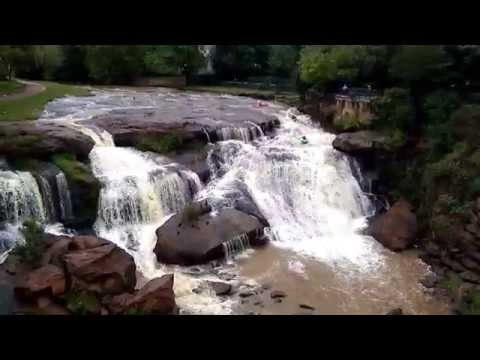 3 Kayaks over the Reedy River Falls