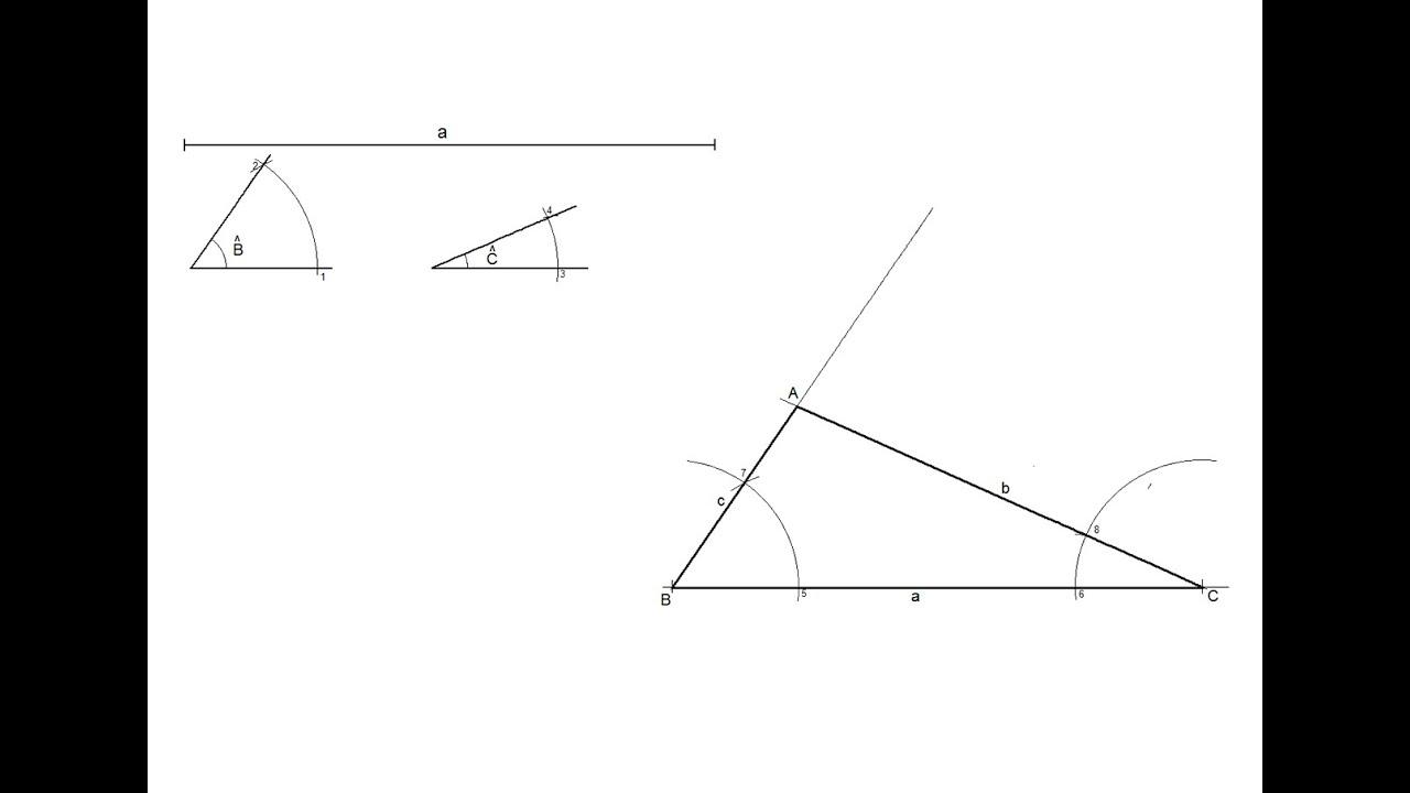 Triángulo dado un lado y sus dos ángulos adyacentes - YouTube