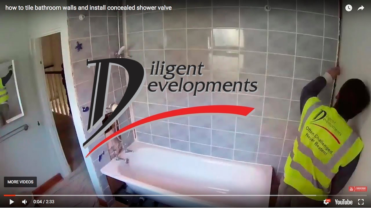 How to tile bathroom walls and install concealed shower