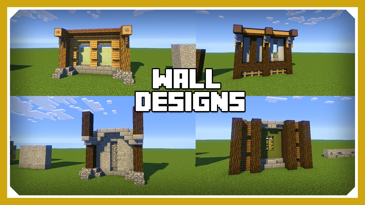 Minecraft how to build a wall design tutorial easy for Interior wall designs minecraft
