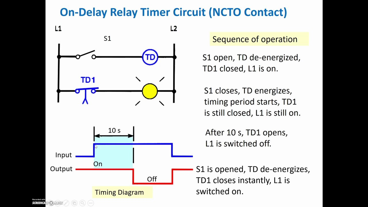 on delay & off delay tutorial (plc programming & ladder logic)  wiring diagram for a off delay timer #5