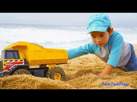 Construction Trucks for Children: Beach Playtime Compilation - Kid Playing with Toys -