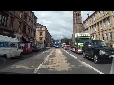 Drive Around City of Glasgow Scotland