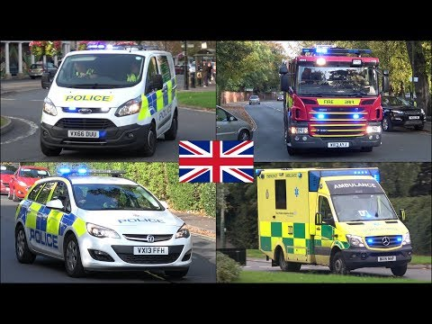 Fire engine, police cars and ambulances responding in Cheltenham + Hillary Clinton