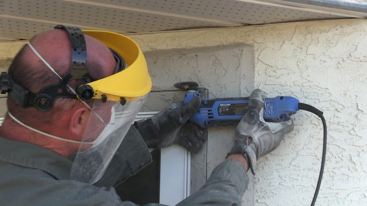 Saw Cutting Through Wall : How to replace a window in stucco wall youtube