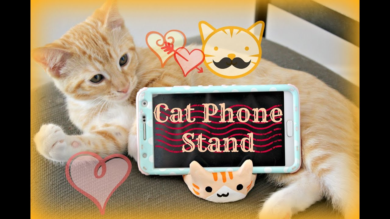 cat phone stand cat tablet stand diy made of air dry clay youtube. Black Bedroom Furniture Sets. Home Design Ideas