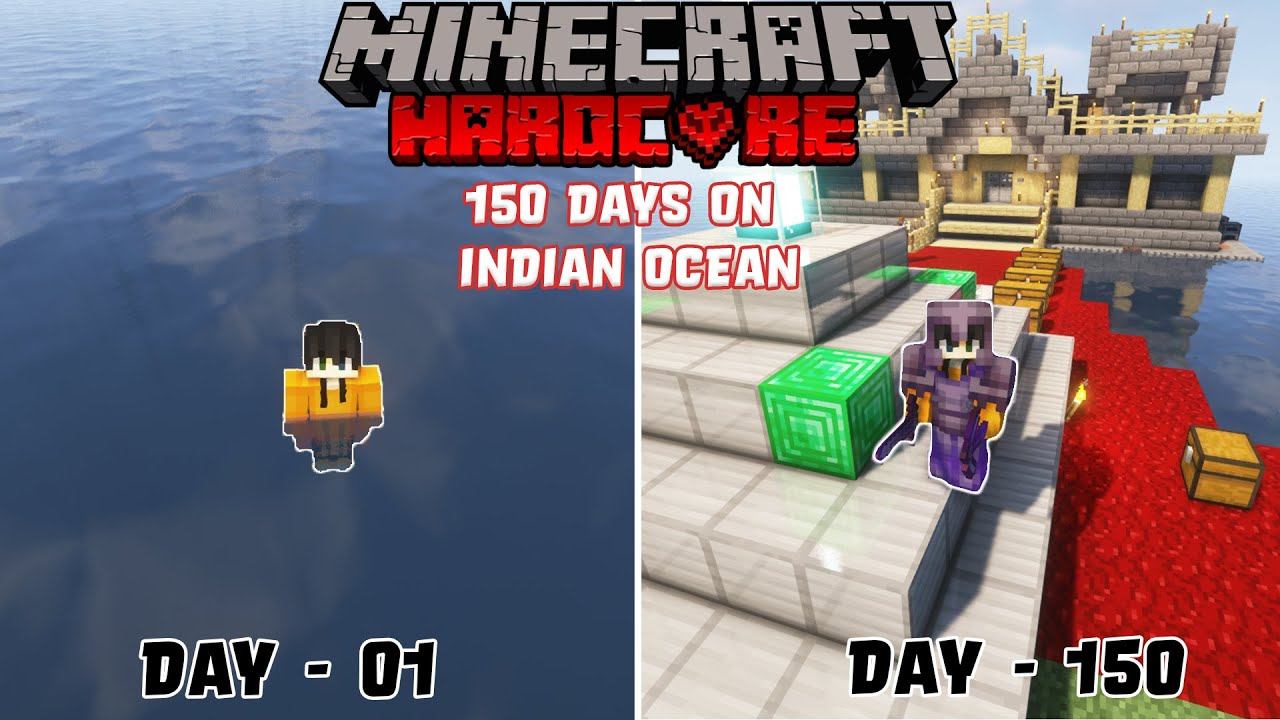 I Survived 150 Days In an Ocean Only World in Minecraft Hardcore ! (Hindi)