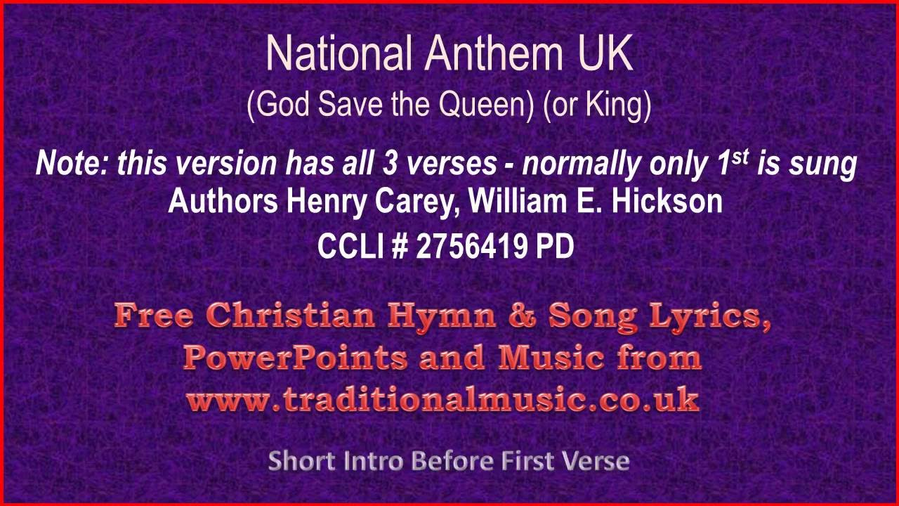 National Anthem UK(God Save The Queen / King) 3 verses ...