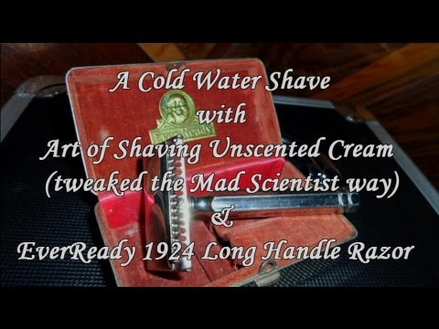 Cold Water Shave - AOS Unscented Cream - EverReady 1924 Long Handle Razor