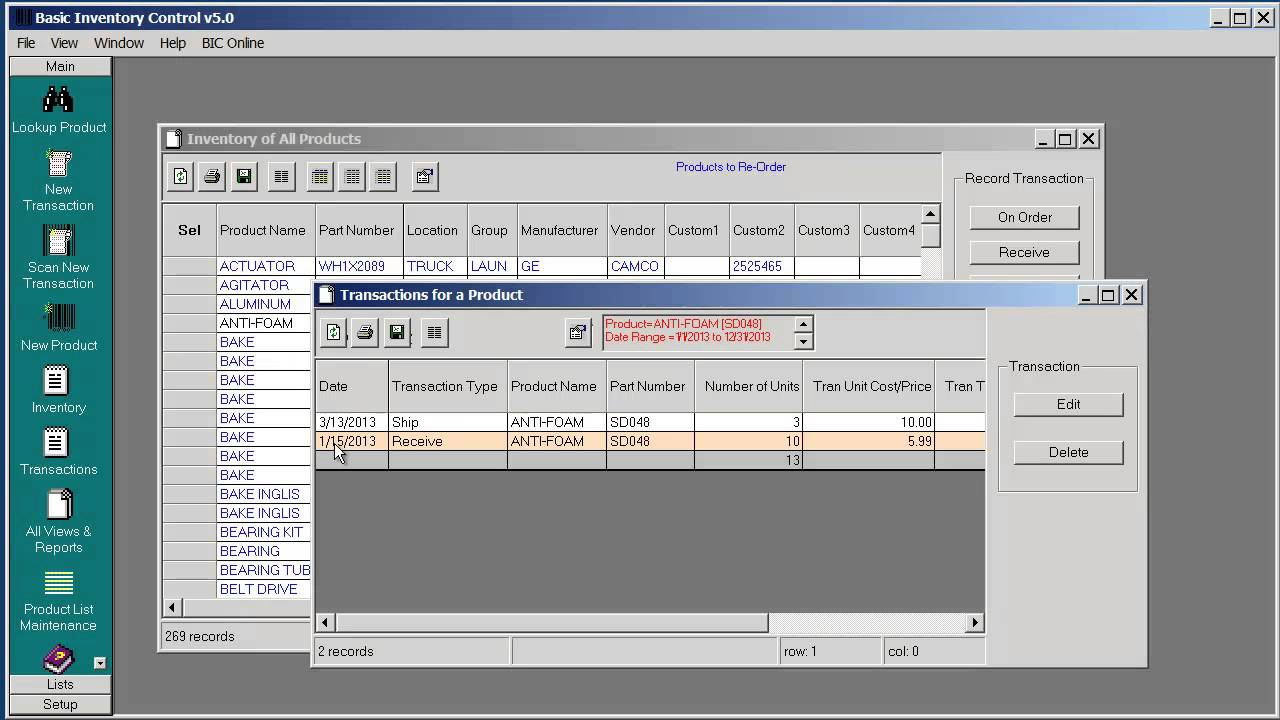 Basic Inventory Control Desktop - Inventory Transaction Reports
