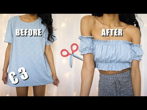 DIY Off The Shoulder Ruffle Top From Primark T-shirt | Clothing hack Transformation