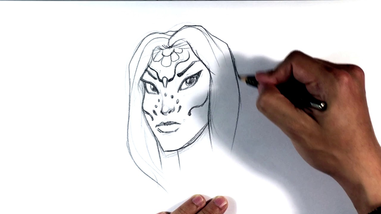 Line Drawing Face Tattoo : How to draw dia de los muertos girl tattoo art youtube