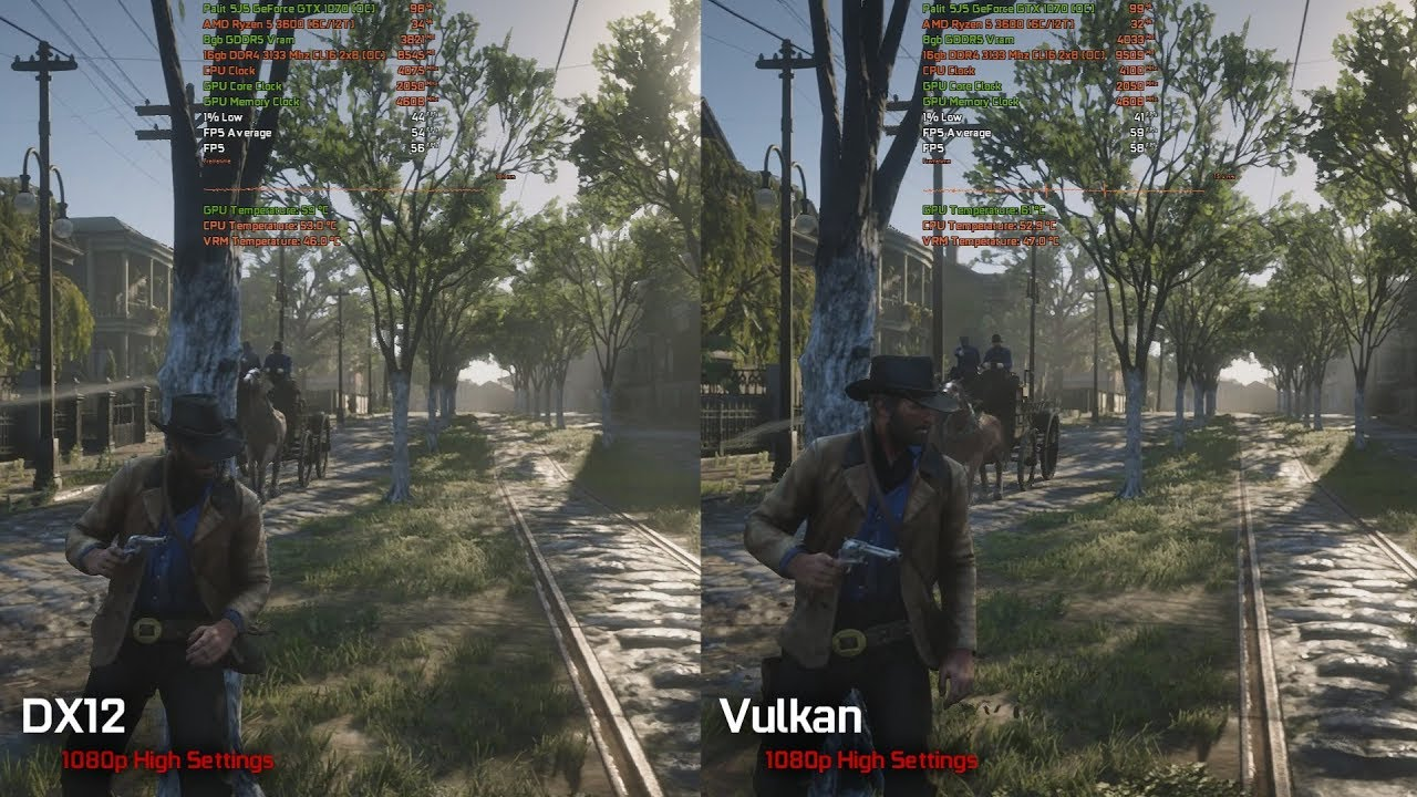 Red Dead Redemption 2 PC (2019) - DX12 vs Vulkan Performance Test with R5 3600 / GTX 1070 OC