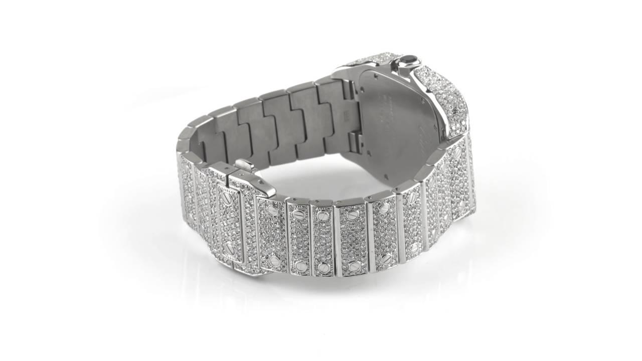 5ee41802787 Cartier Santos 100XL Watch Fully Iced Out 26 Carat Diamonds Best Price ASAAR