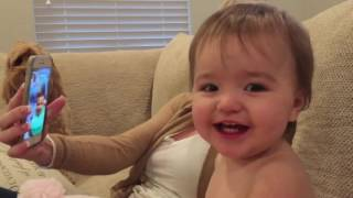 Funny babies FaceTime video chat with each other