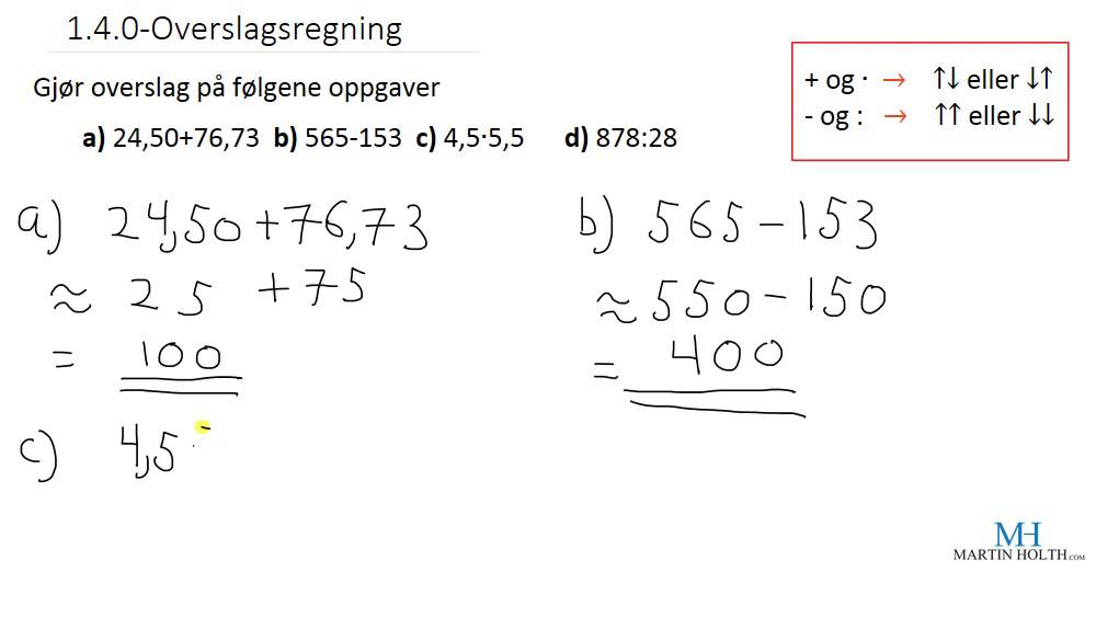 Matematikk 1P - 1.4.0- Overslagsregning